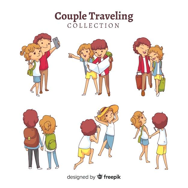 Collezione itinerante di coppia Vettore gratuito