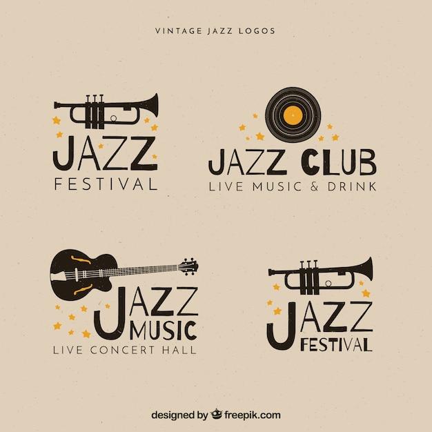Collezione jazz logo con stile vintage Vettore gratuito