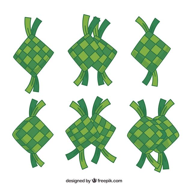 Collezione ketupat tradizionale disegnata a mano Vettore gratuito