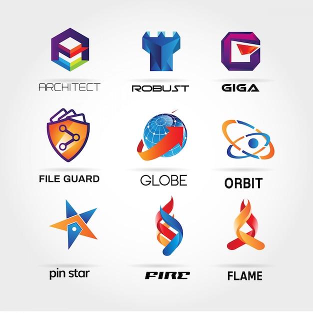 Collezione logo 3d colorato Vettore Premium