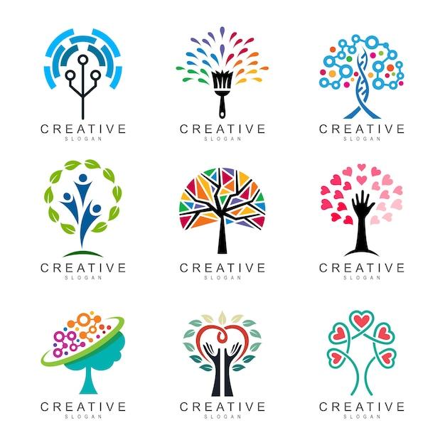 Collezione logo albero astratto, set di logo albero Vettore Premium