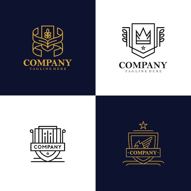 Collezione logo araldica Vettore Premium