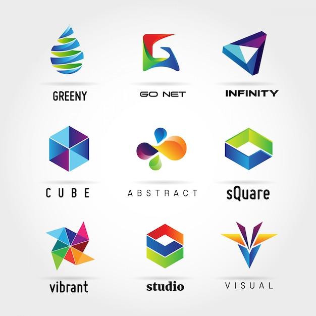 Collezione logo astratto colorato business Vettore Premium