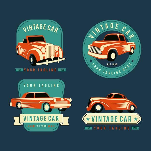 Collezione logo auto d'epoca Vettore gratuito