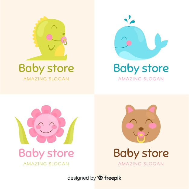 Collezione logo baby store Vettore gratuito