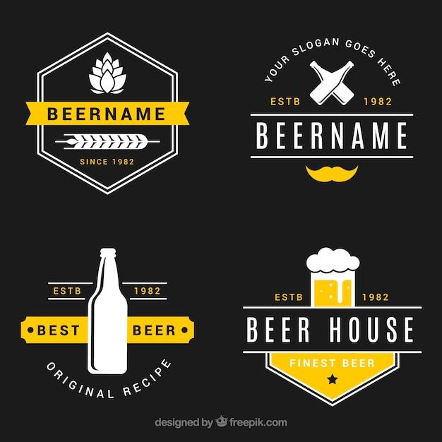 Collezione logo birra vintage Vettore gratuito