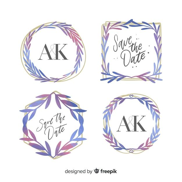 Collezione logo dell'acquerello telaio di nozze Vettore gratuito