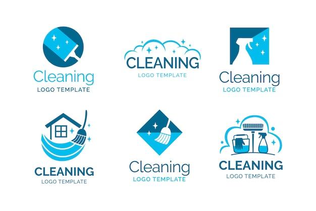 Collezione logo di pulizia Vettore gratuito