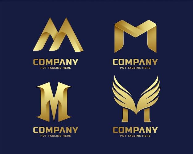 Collezione logo dorato lettera iniziale m Vettore Premium