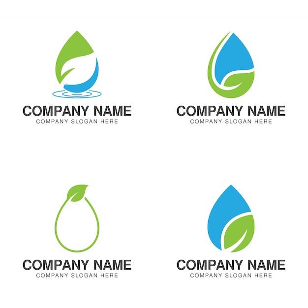 Collezione logo eco green water Vettore Premium