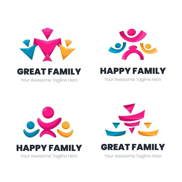 Collezione logo famiglia Vettore gratuito