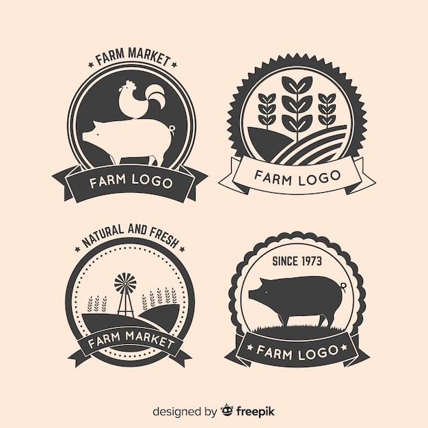 Collezione logo flat farm Vettore gratuito