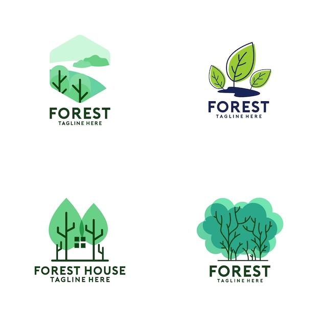Collezione logo forest Vettore Premium