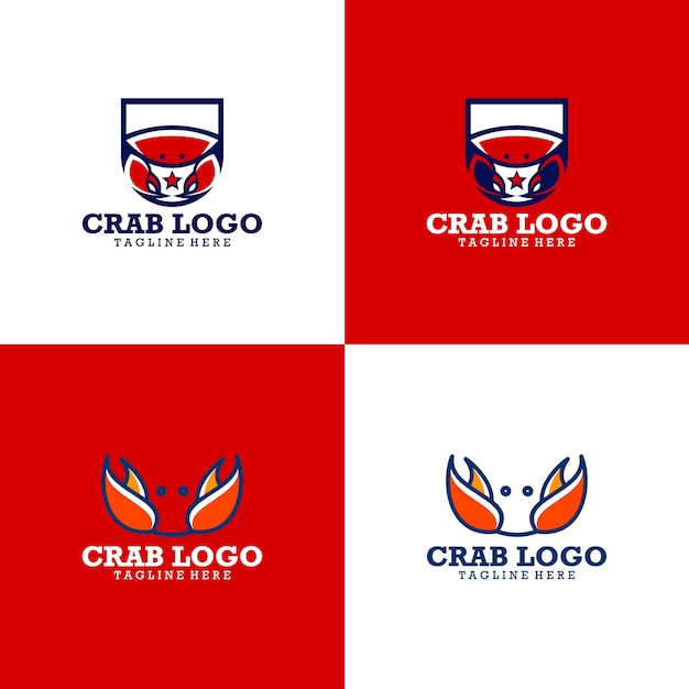 Collezione logo granchio Vettore Premium