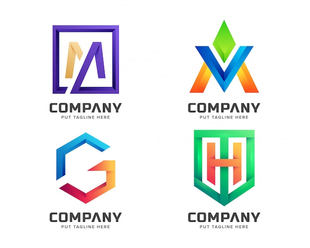 Collezione logo iniziale lettera colorata creativa Vettore Premium