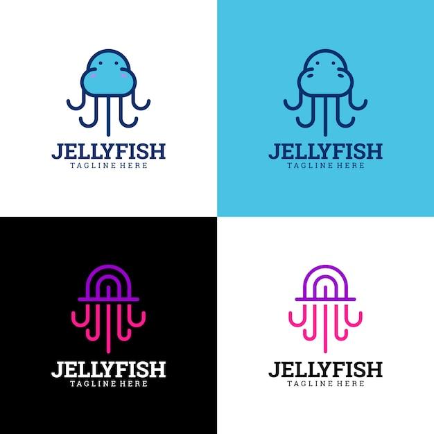 Collezione logo jelly fish Vettore Premium