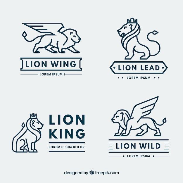 Collezione logo lion con stile moderno Vettore gratuito