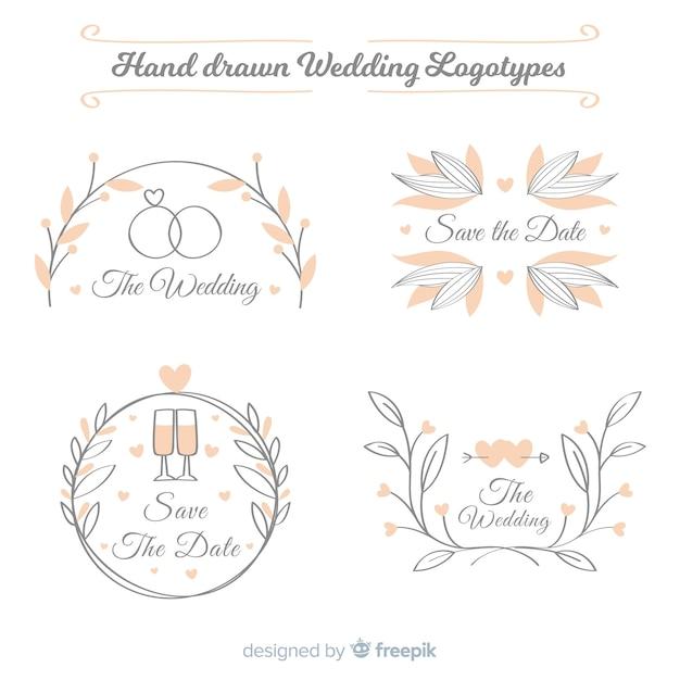 Collezione logo matrimonio Vettore gratuito