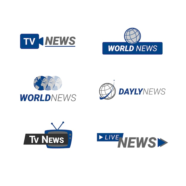 Collezione logo notizie Vettore gratuito