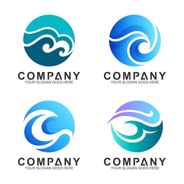 Collezione logo onda in forma di cerchio Vettore Premium