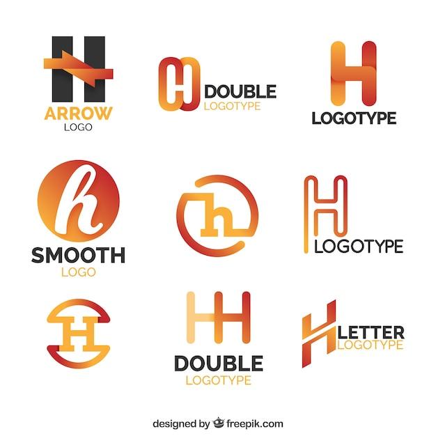 Collezione logo orange lletter h Vettore gratuito