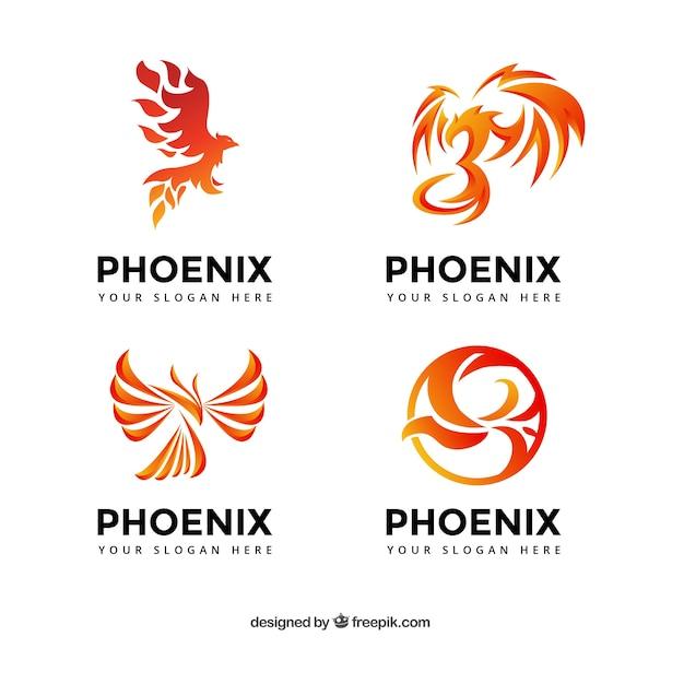Collezione logo phoenix Vettore gratuito