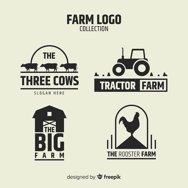 Collezione logo piatto nero fattoria Vettore gratuito