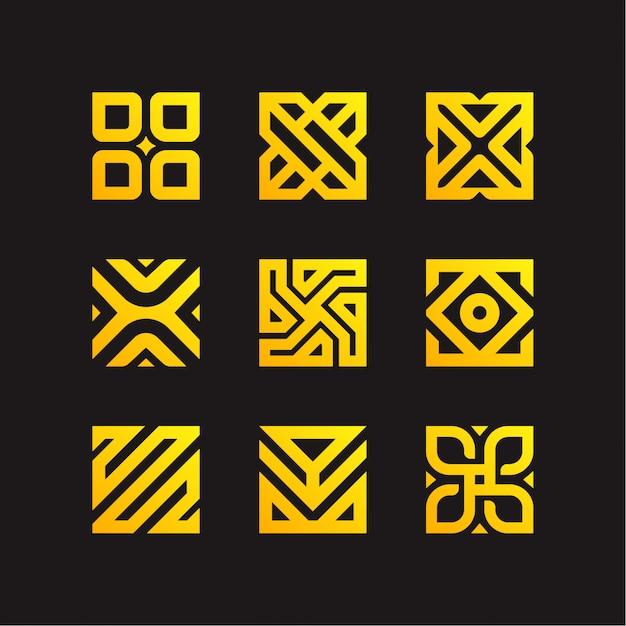 Collezione logo quadrata Vettore Premium