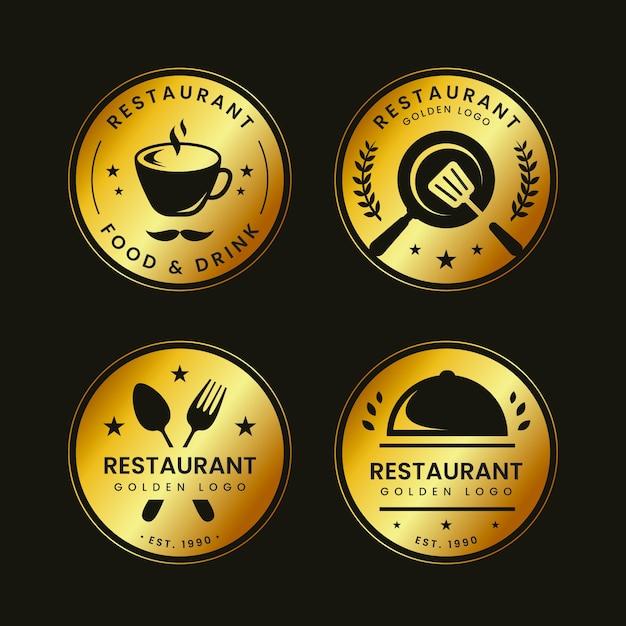 Collezione logo ristorante retrò dorato Vettore gratuito