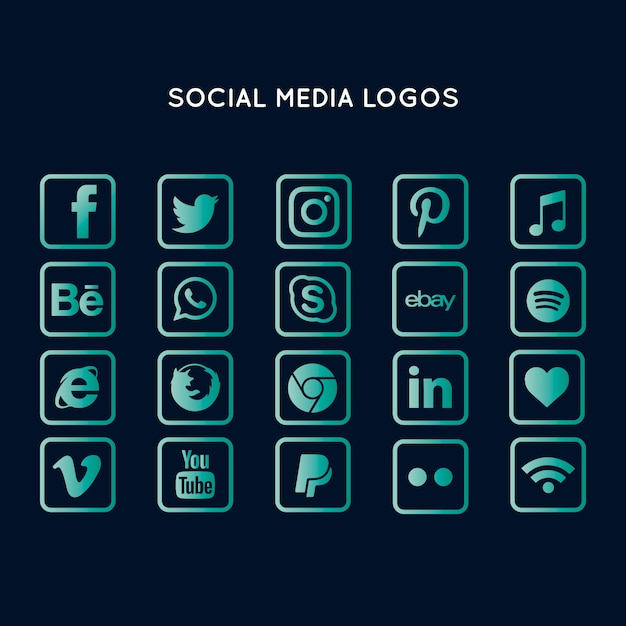 Collezione logo social media Vettore gratuito