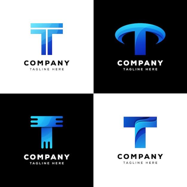 Collezione logo t tecnologia logo design Vettore Premium