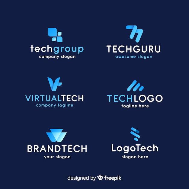 Collezione logo tecnologia gradiente Vettore gratuito