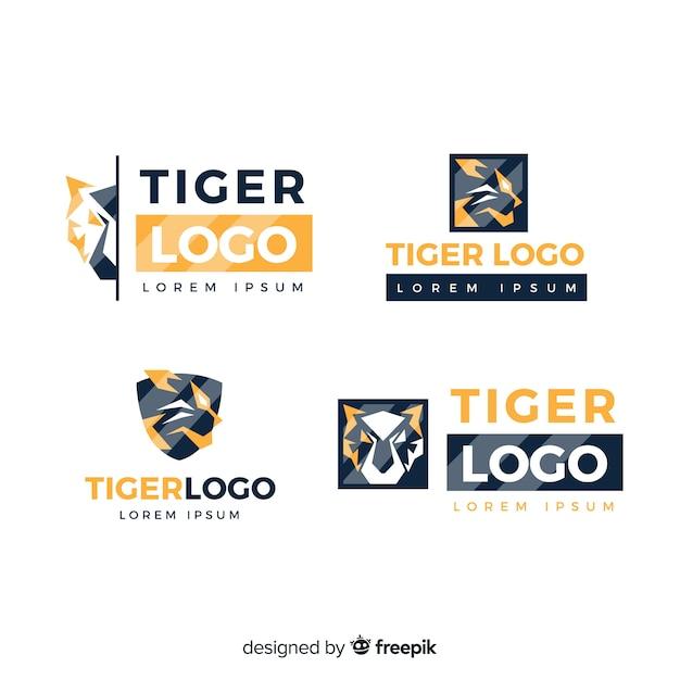 Collezione logo tiger Vettore gratuito