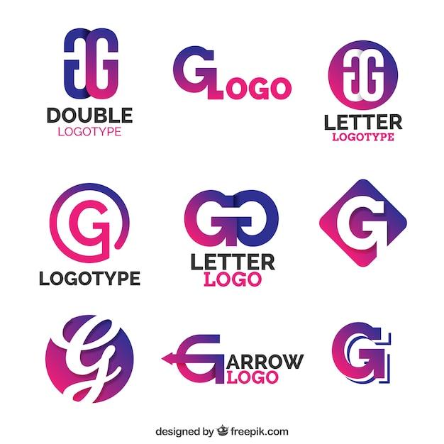 Collezione logo viola lettera g Vettore gratuito
