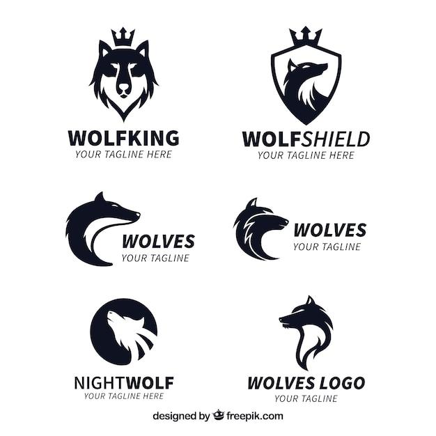 Collezione logo wolf king Vettore gratuito