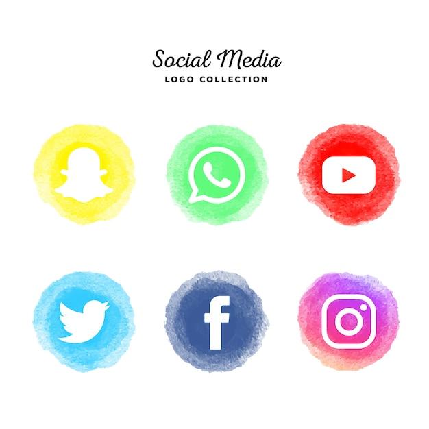 Collezione logotipo acquerello social media Vettore gratuito