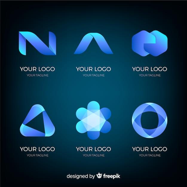Collezione logotipo tecnologico geometrico gradiente Vettore gratuito
