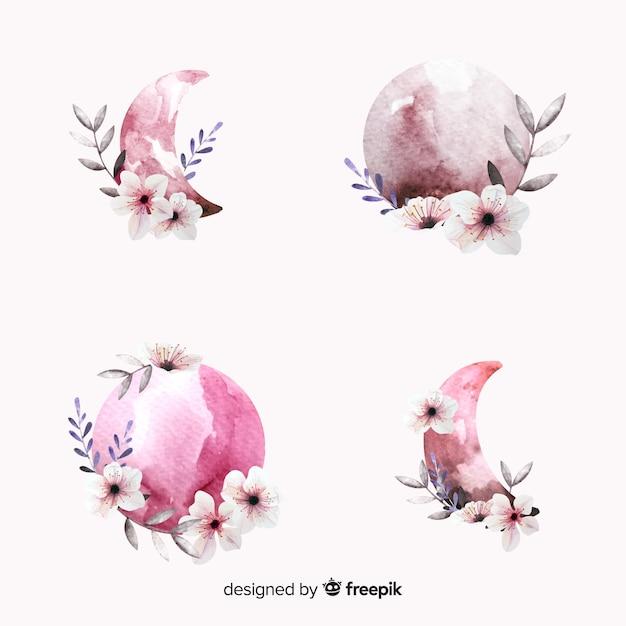 Collezione luna dell'acquerello nei toni del rosa Vettore gratuito