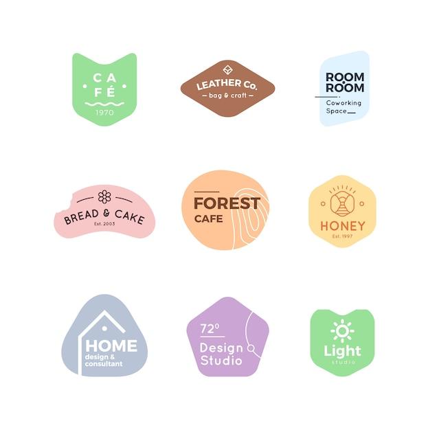 Collezione minimal logo colori pastello Vettore gratuito