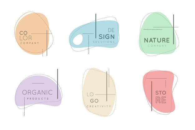Collezione minimal logo con colori pastello Vettore gratuito