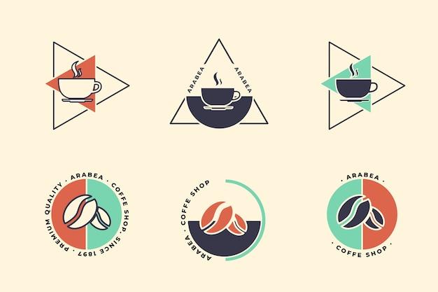 Collezione minimal logo in stile retrò Vettore gratuito