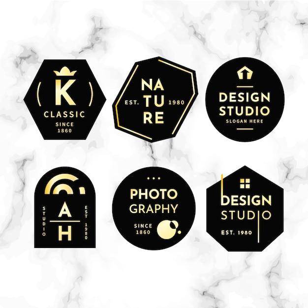 Collezione minimal logo su fondo in marmo Vettore gratuito