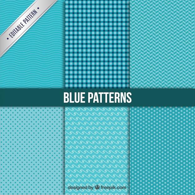 Collezione modelli blu Vettore gratuito