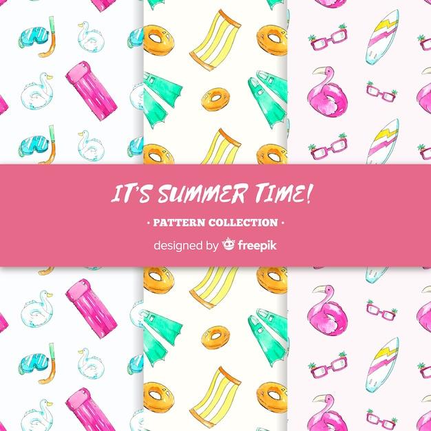 Collezione modello acquerello estate Vettore gratuito