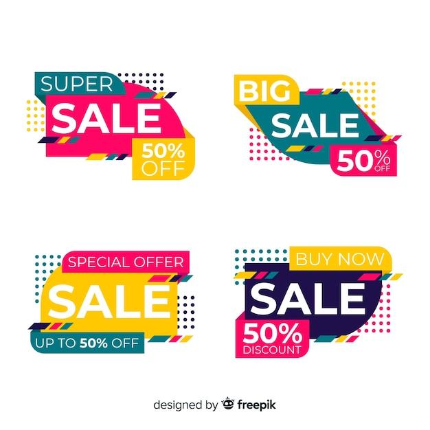 Collezione modello astratto banner di vendita Vettore gratuito