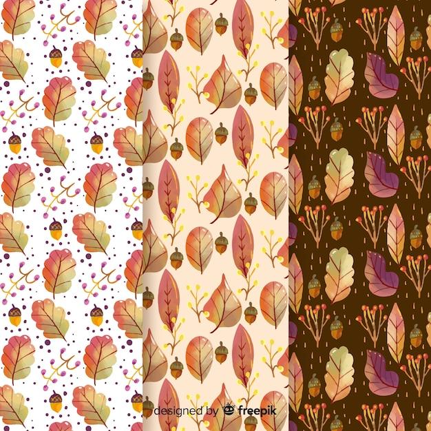 Collezione modello autunno dell'acquerello con foglie Vettore gratuito