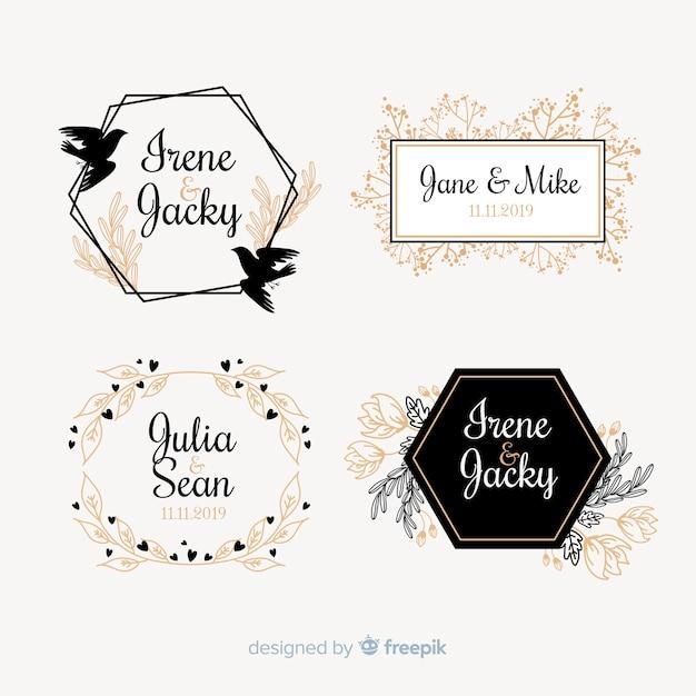 Collezione modello logo monogramma di nozze Vettore gratuito