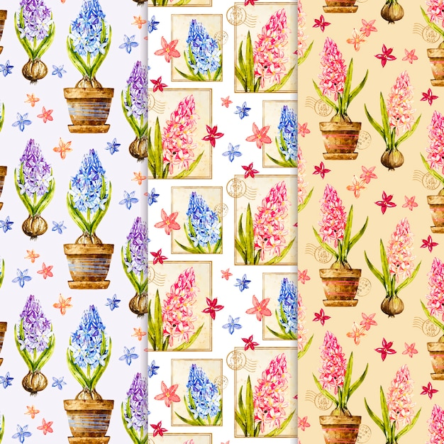Collezione modello primavera dell'acquerello Vettore gratuito