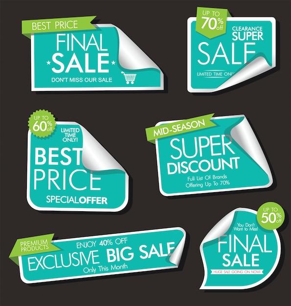 Collezione moderna di bandiere ed etichette di vendita moderna Vettore Premium