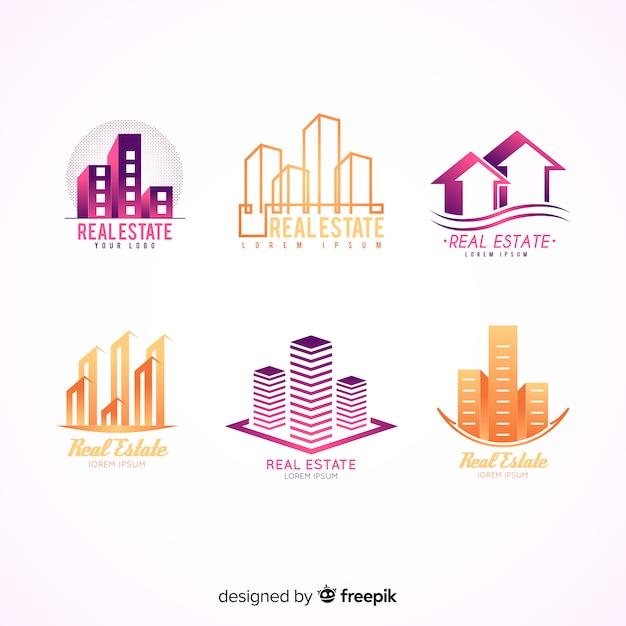 Collezione moderna di logo immobiliare Vettore gratuito